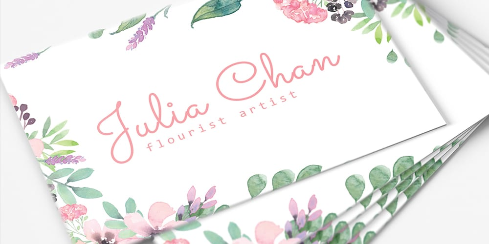 Free Floral Minimalist Business Card Template PSD