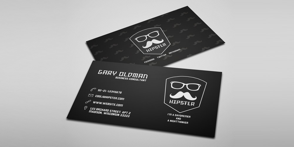 Free Hipster Business Card Template PSD