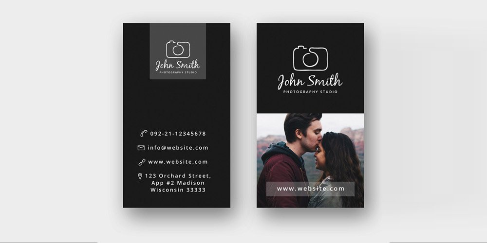 Free Minimal Photographer Business Card Template PSD