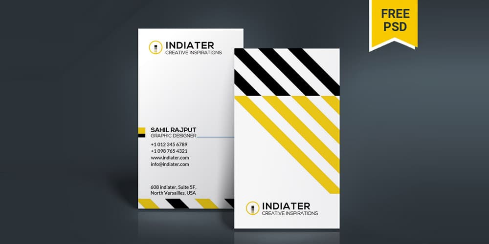 Free Modern Vertical Business Card Designs PSD