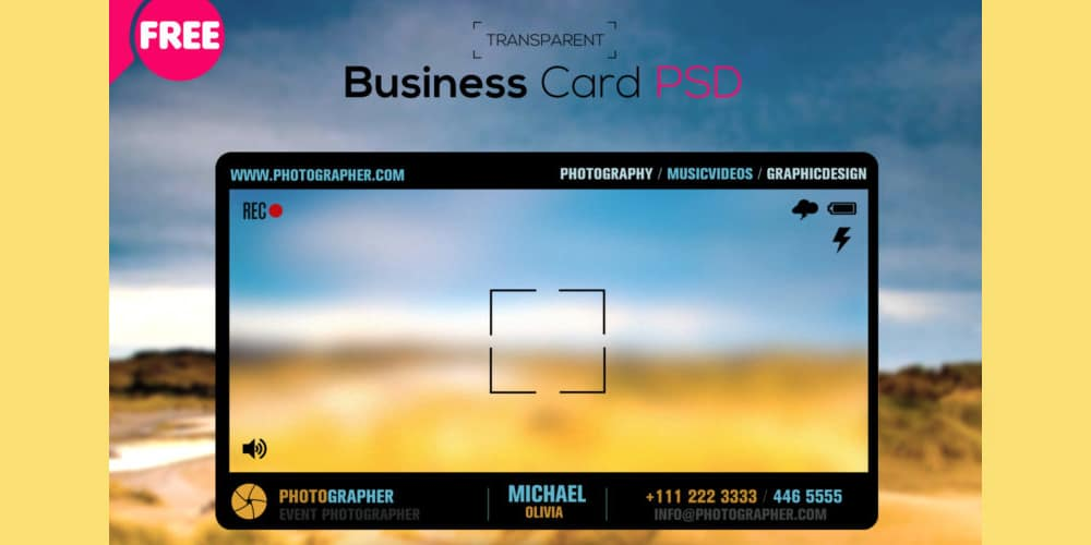 Free Photographer Transparent Business Card Template PSD