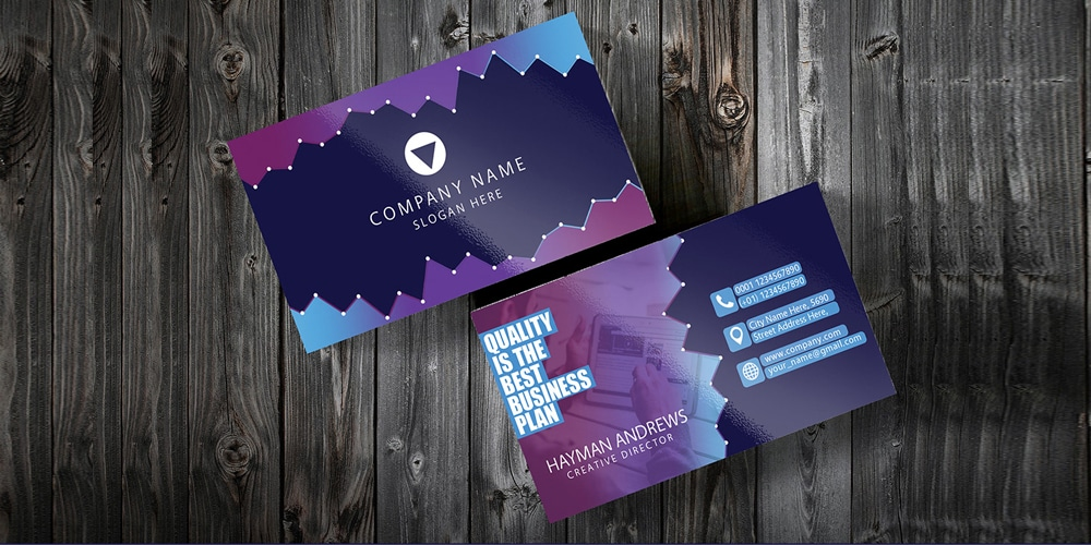 Free Purple Corporate Business Card Template PSD
