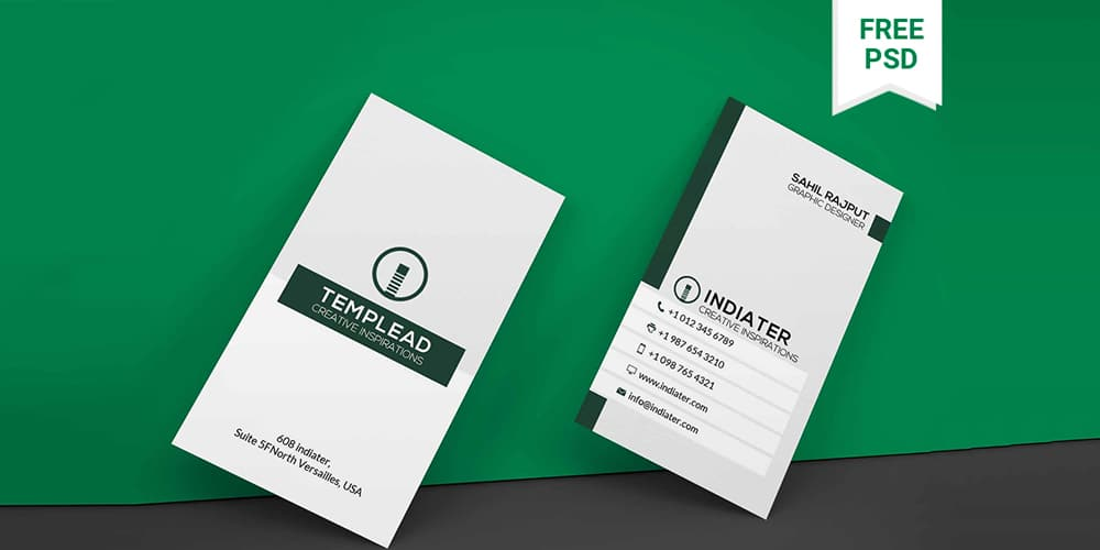 Free Vertical Classic Business Card PSD