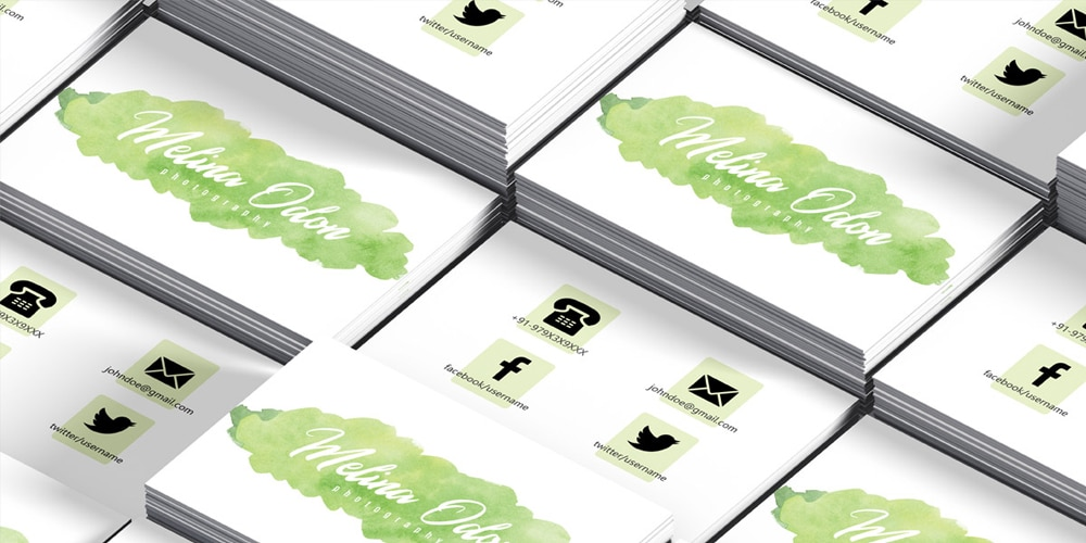 Free Watercolor Photography Business Card Template PSD