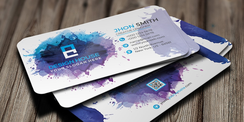 Free Watercolor Splash Business Card PSD