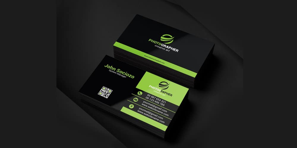 Green Business Card Template PSD
