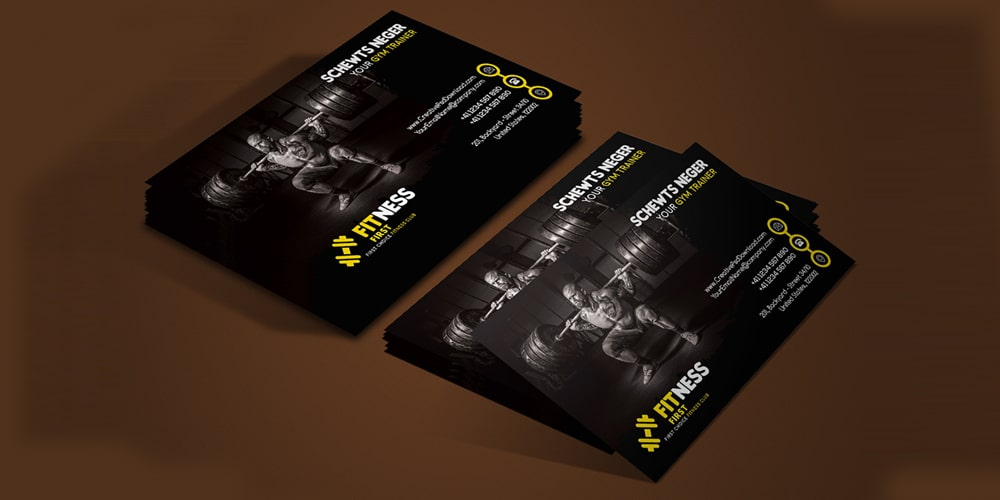 Gym Trainer Minimalistic Business Card PSD