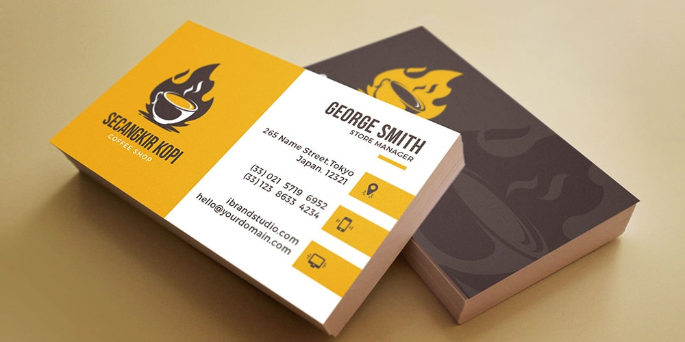 Hot Coffee Business Card Template PSD
