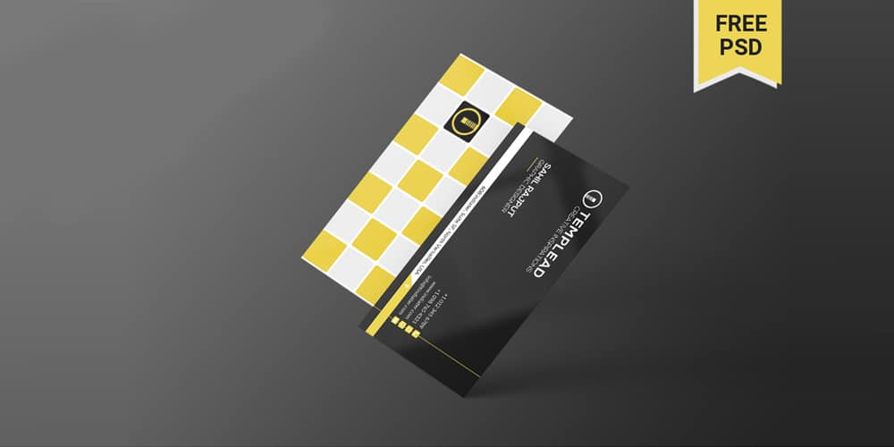 Minimal Black & Yellow Individual Business Card PSD