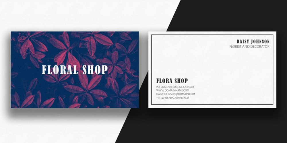 Minimal Floral Business Card PSD