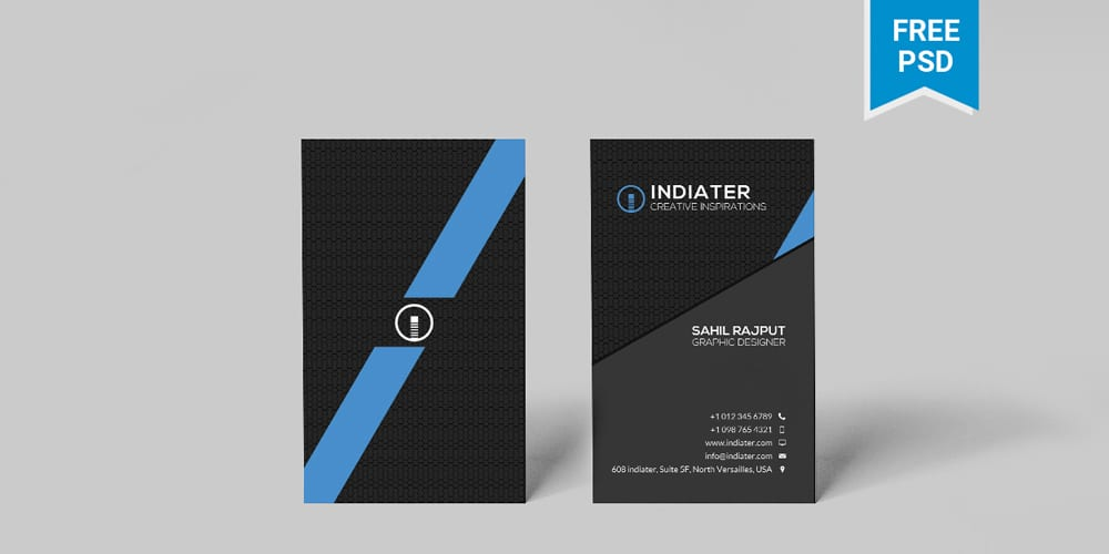 Minimalist Vertical Business Card Template PSD