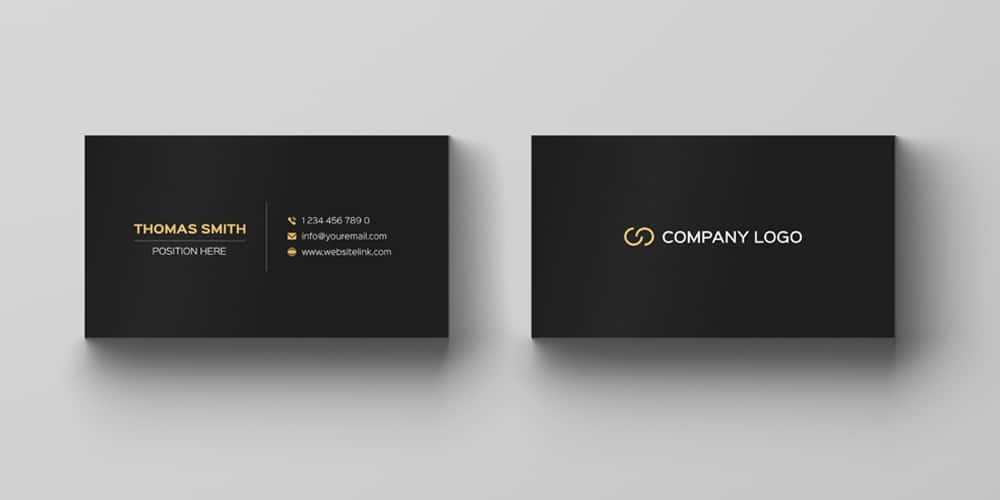 Minimalistic Black and Gold Business Card Template PSD