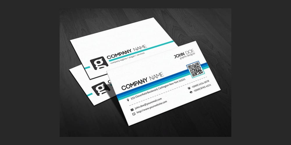 Modern QR Code Corporate Business Card Template