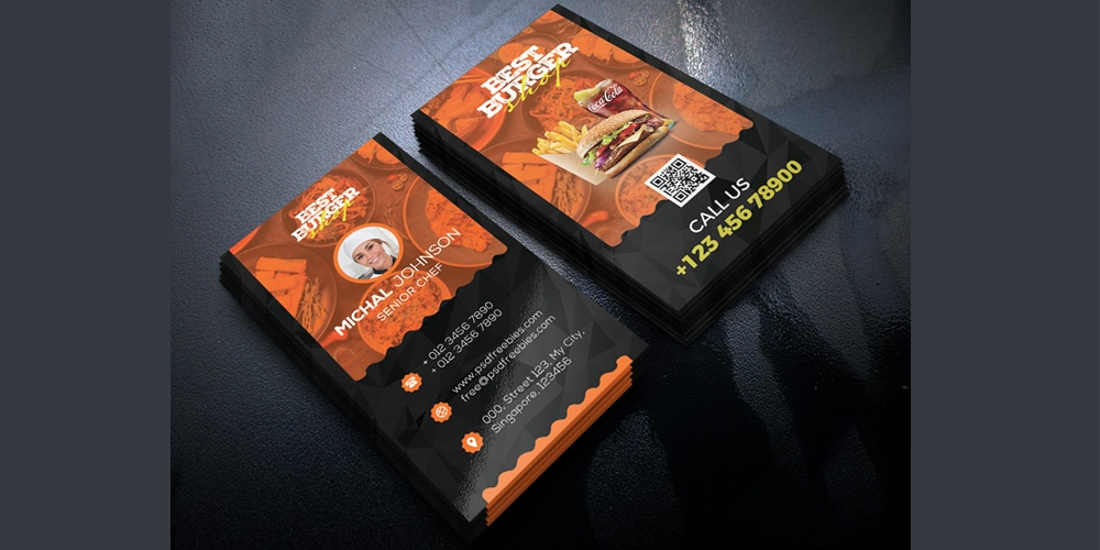 Restaurant Business Card Template PSD