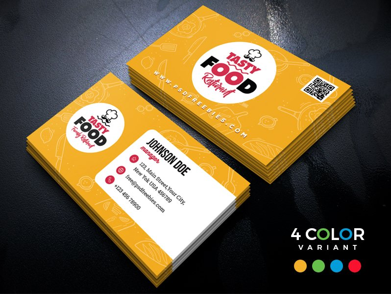 Restaurant Business Cards PSD
