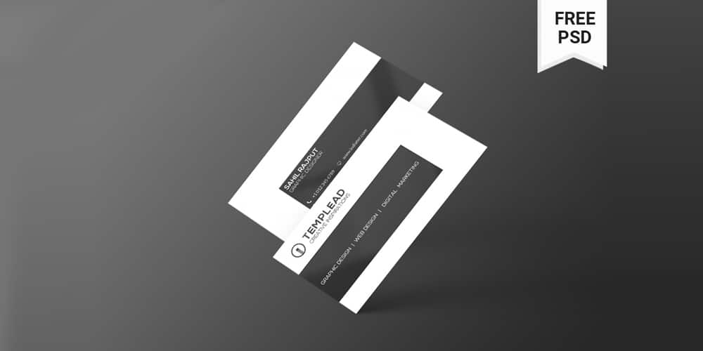 Stylish Black And White Business Cards PSD