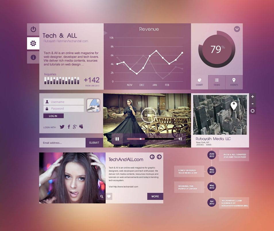 "UI Components ""Purpel City"" .PSD"