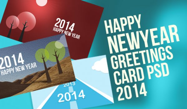 2014 New Year Greetings Card PSD - cssauthor.com