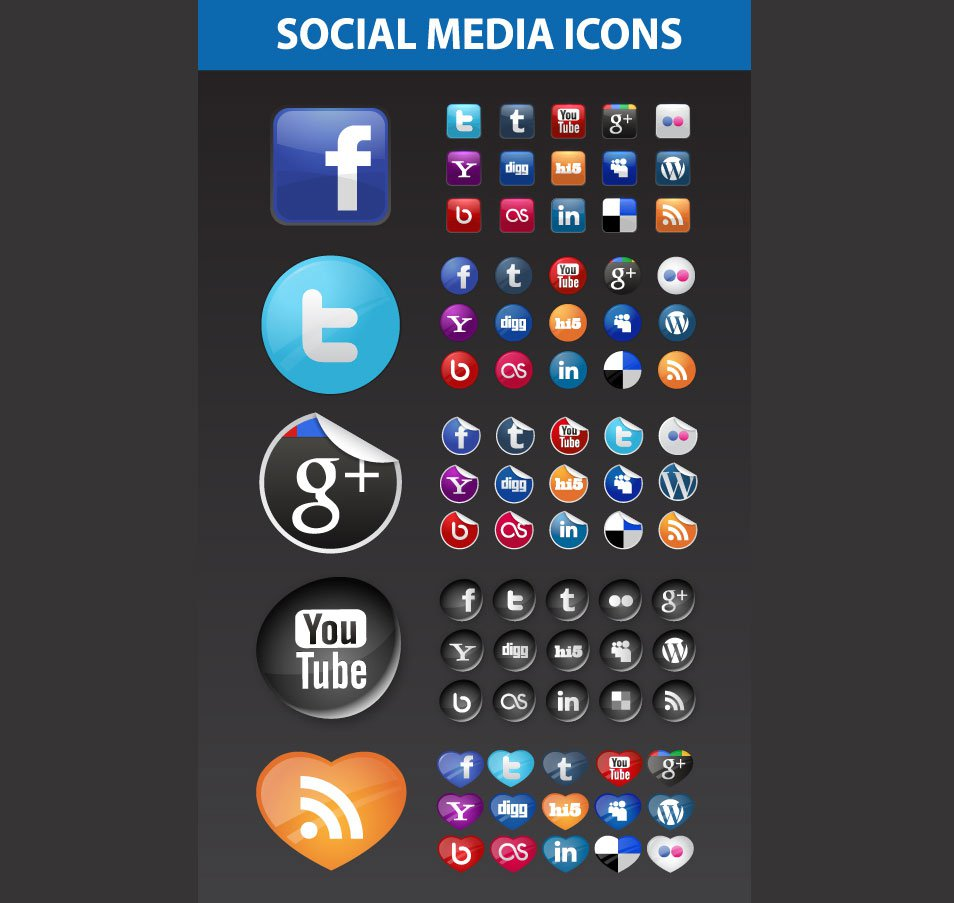 5 Assorted Social Media Icons