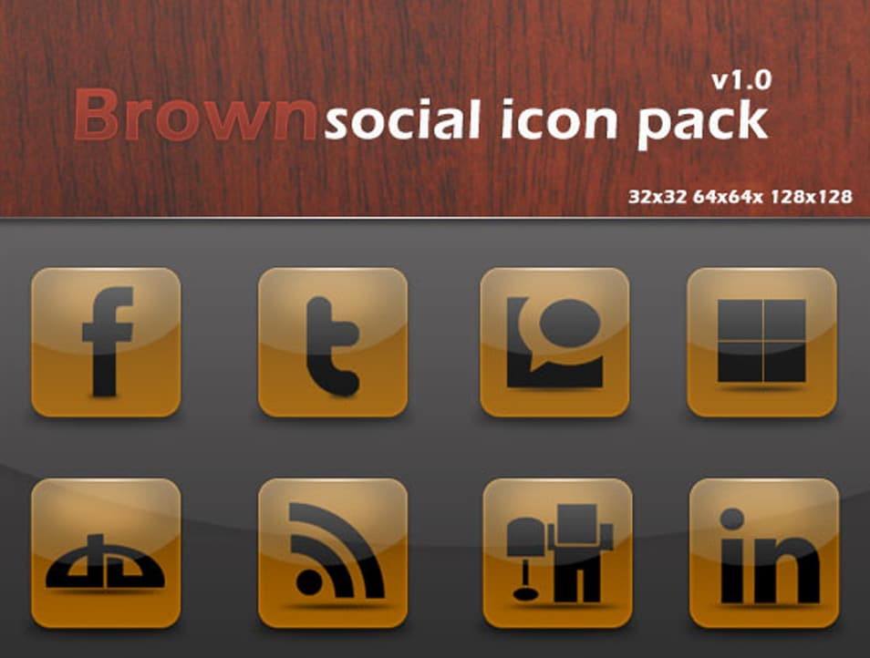 Brown Social Icon Pack
