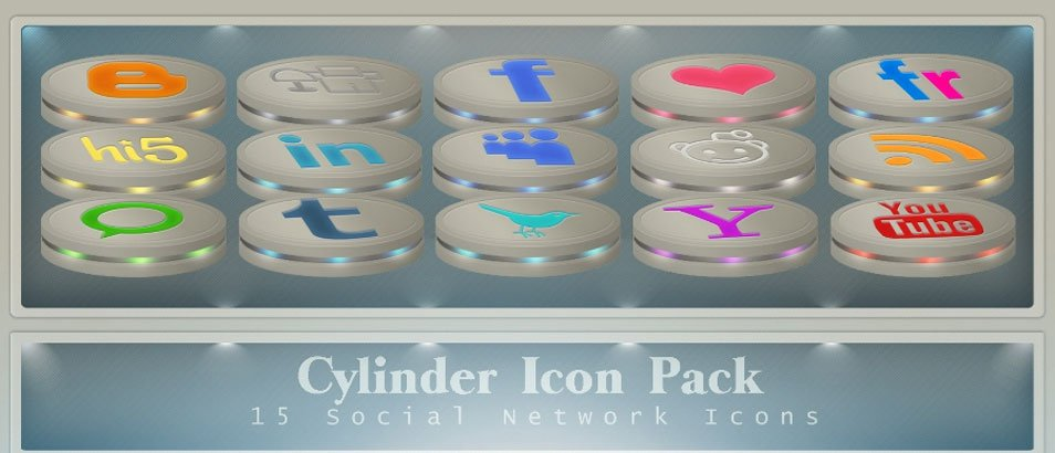 Cylinder Social Network Icon. Pack no.1