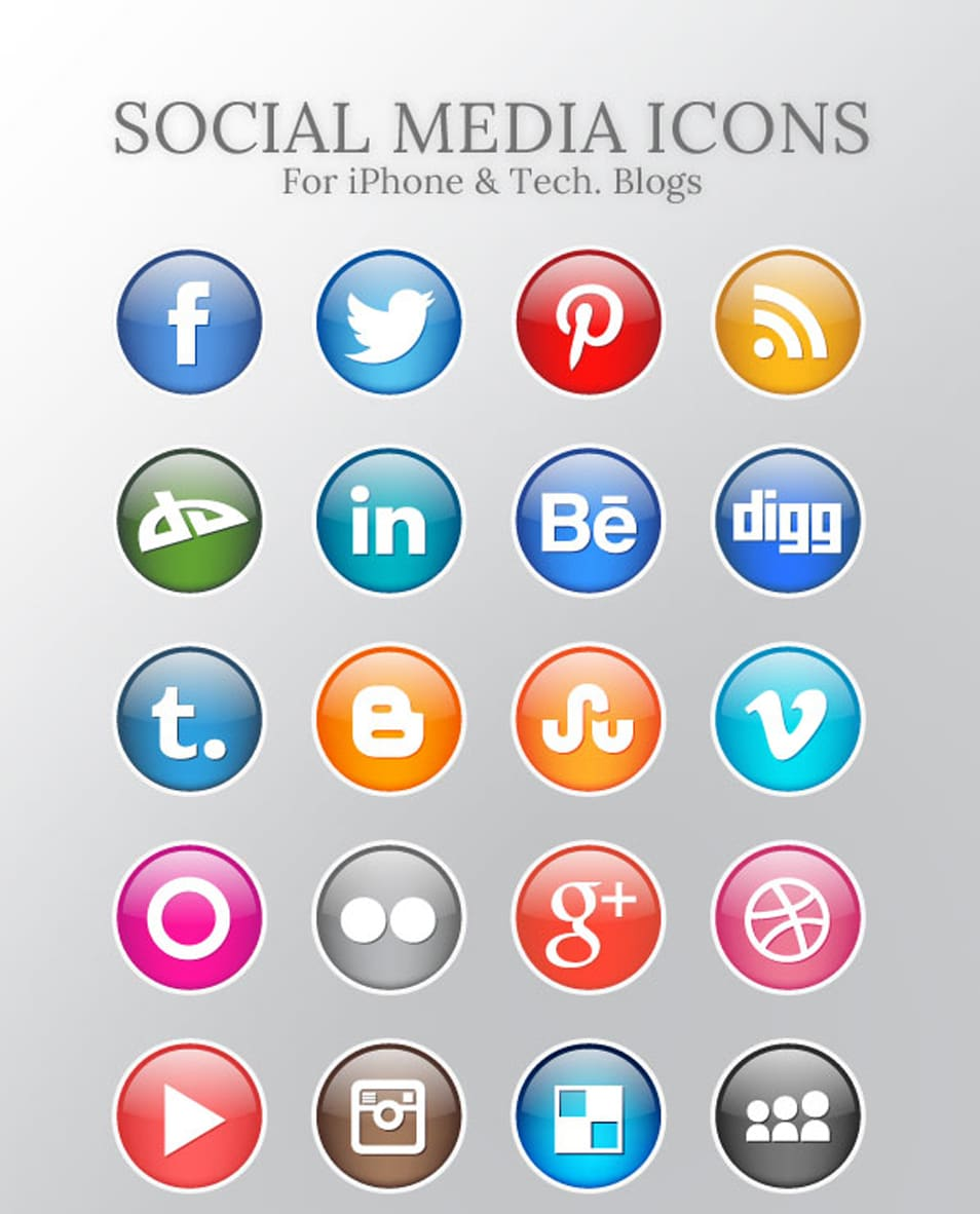 Free High Quality Social Media Icons For iPhone & Technology Blogs