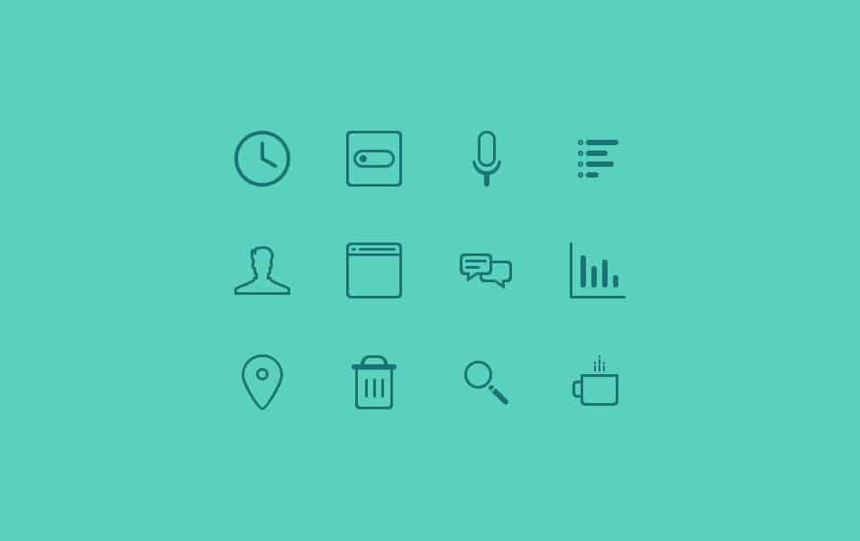 Free PSD – Teal Icons