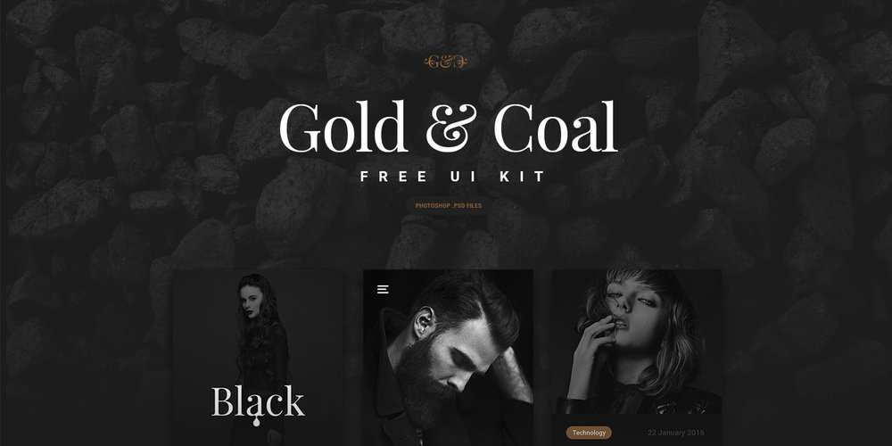 Gold and Coal Free UI Kit for iOS and Android