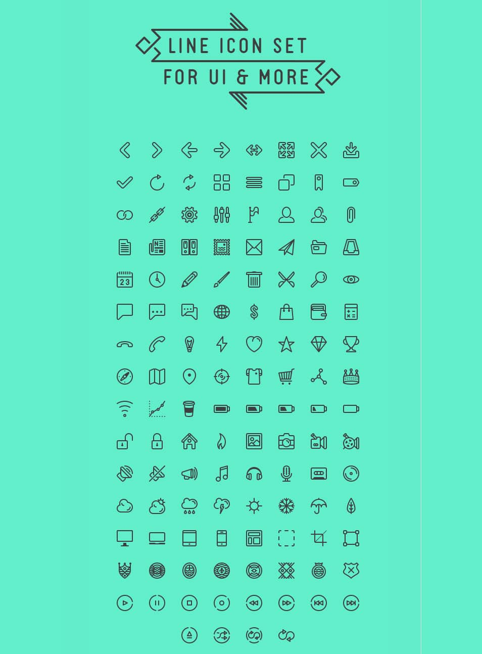 Line icon set for UI & more