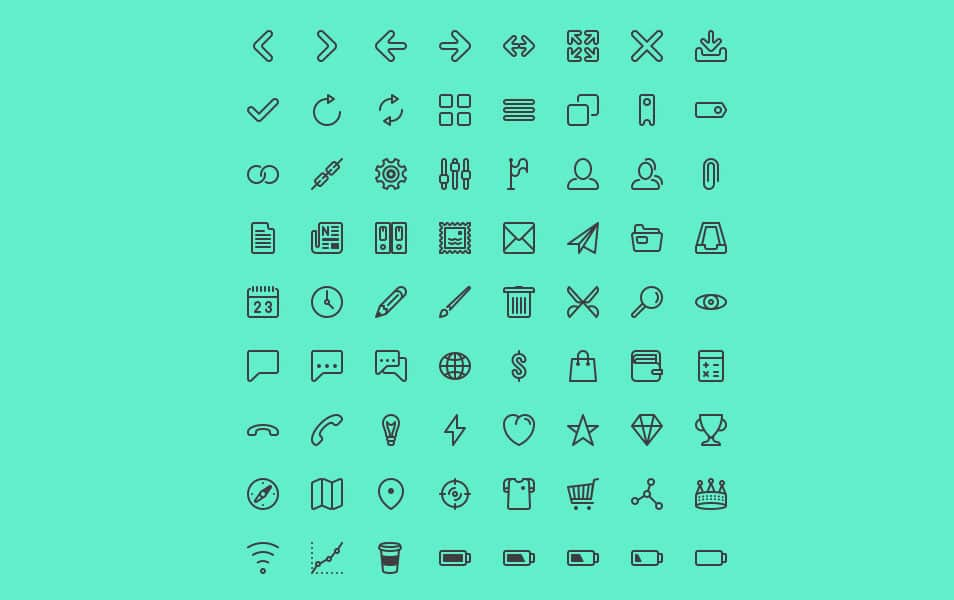 Line icon set for UI