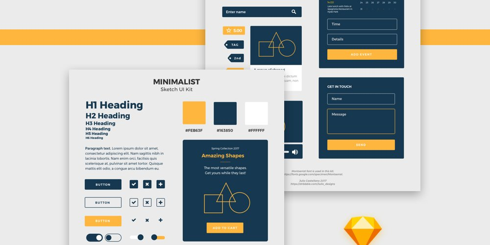Minimalist Free Sketch Ui Kit