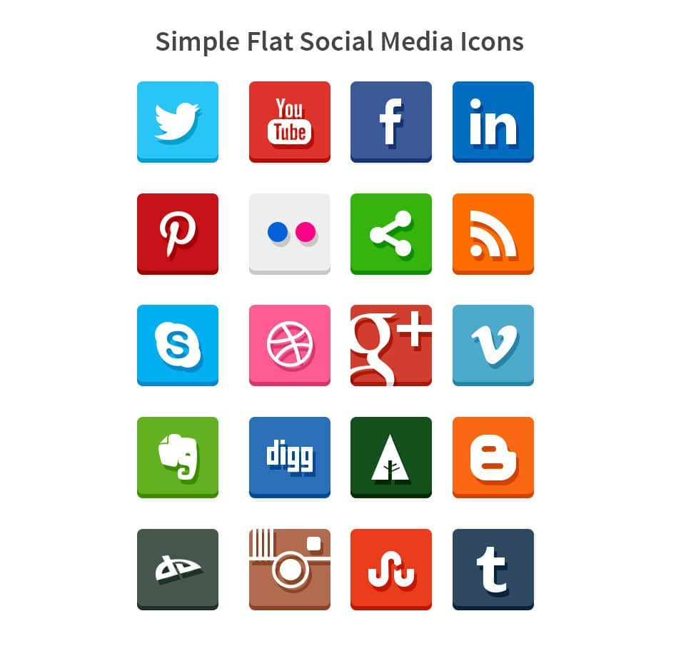 Simple Flat Social Media Icons (PSD & PNG)
