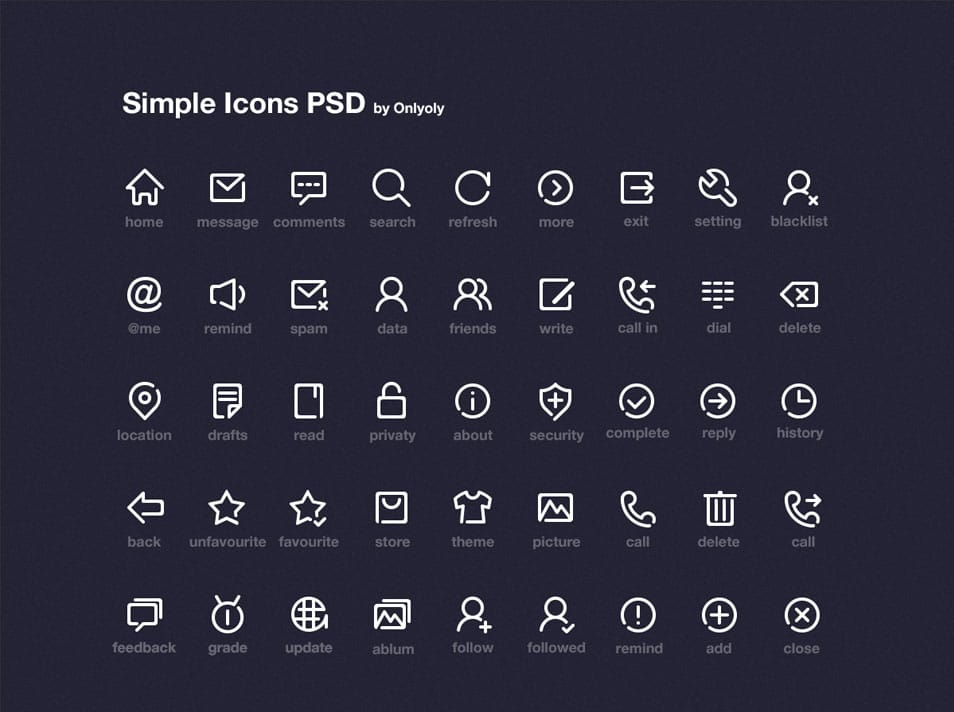 Simple Line Icon PSD