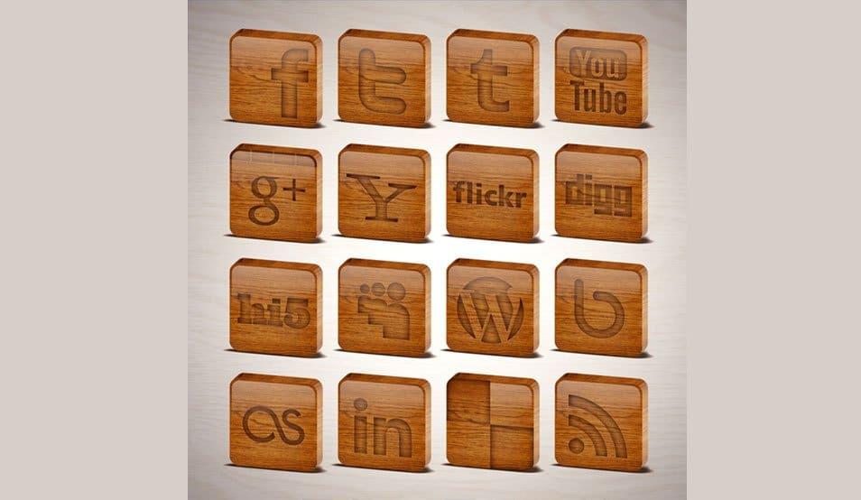 Wooden Tiles Social Media Icons