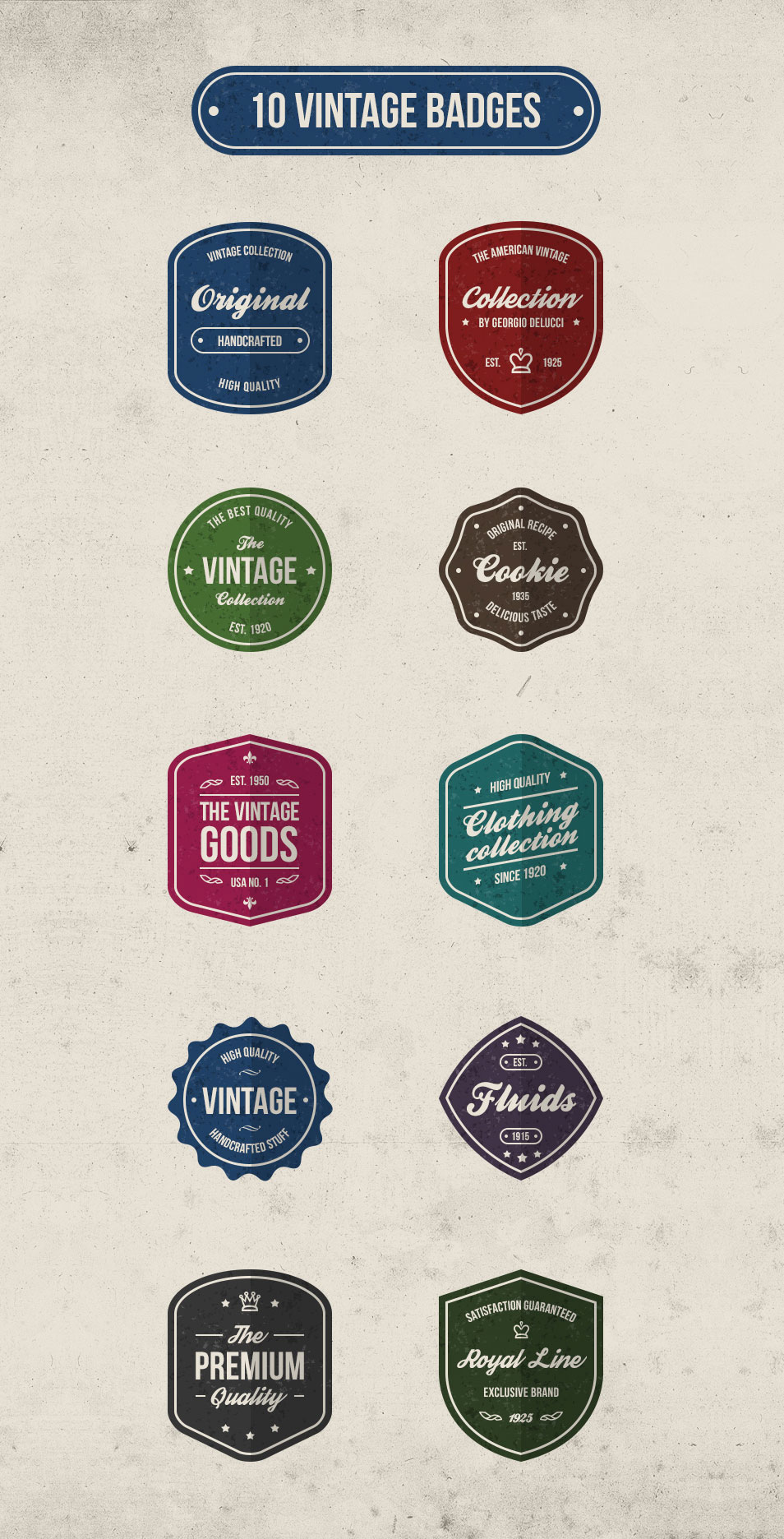 10 Free Vintage Retro Badges PSD