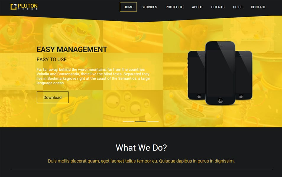 Pluton Free Single Page Bootstrap Html Template