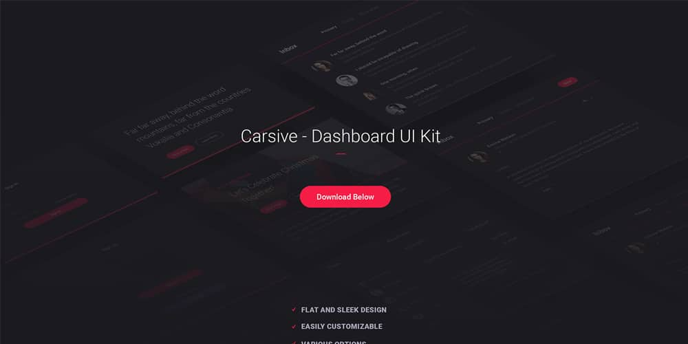 Carsive Dashboard UI Kit PSD