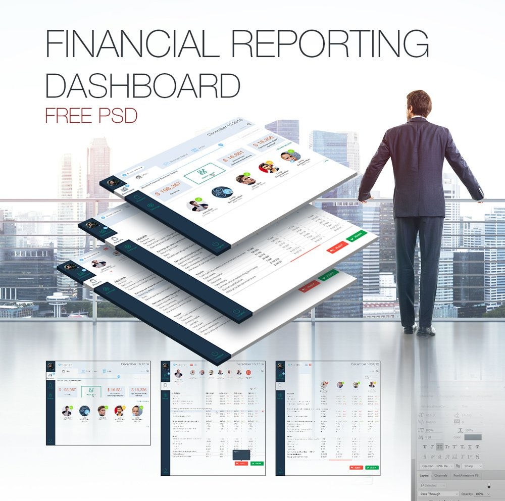 Financial Reporting Dashboard UI PSD