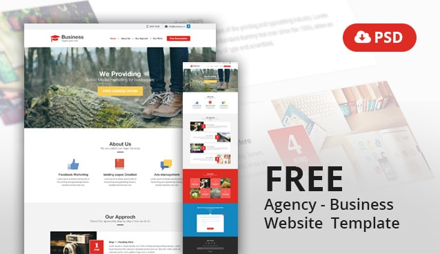 Agency business website template psd css author flashek Image collections