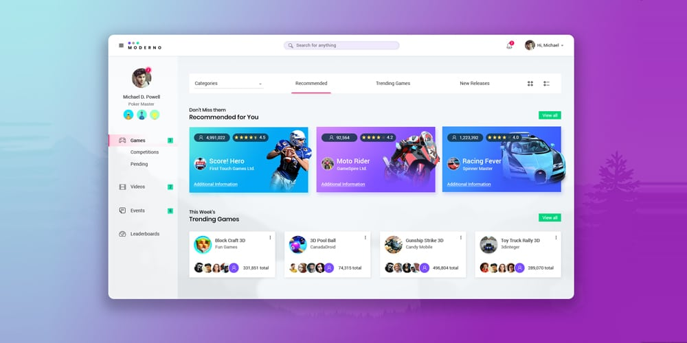 Free Sports Dashboard UI PSD