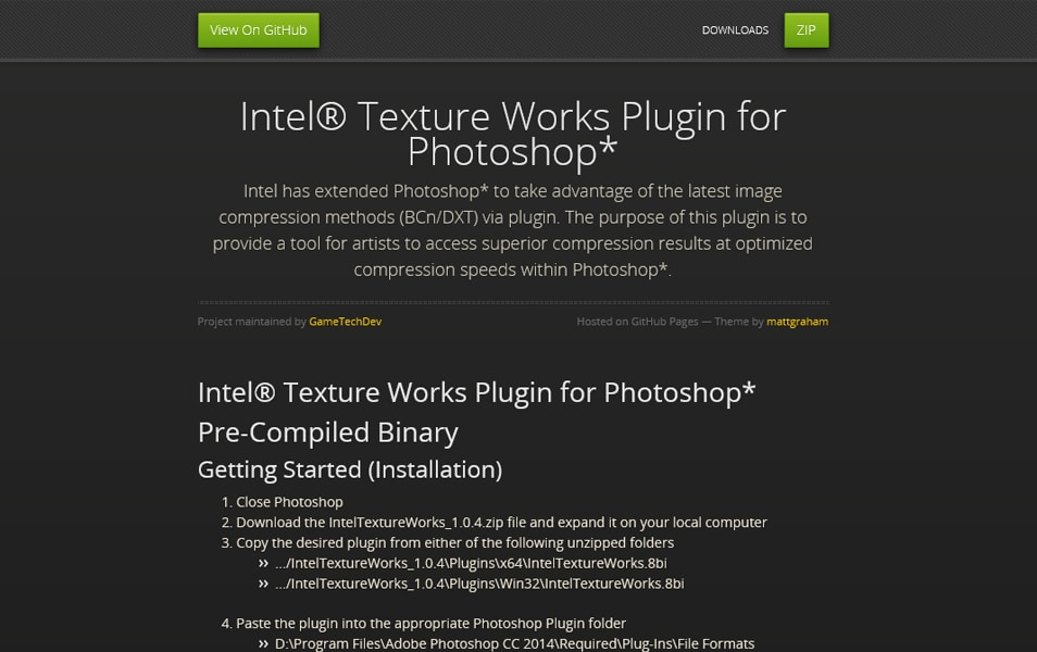 Intel® Texture Works Plugin for Photoshop