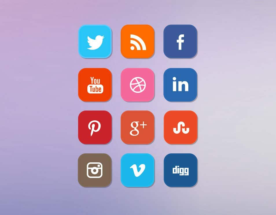 Free Clean Rounded Flat Social Media Icon Set