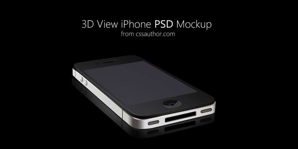 3D View iPhone PSD Mockup