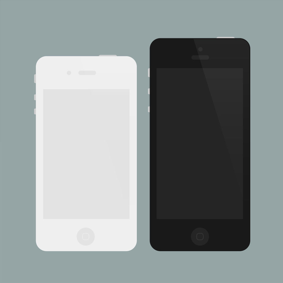 Flat iPhone 4/5 Mockups (PSD)