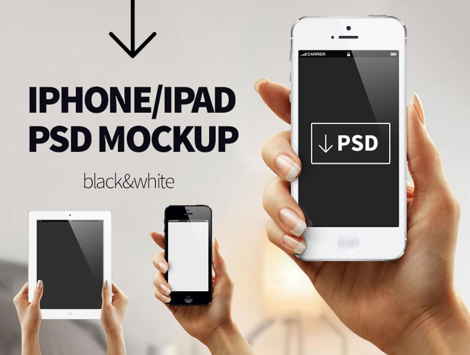 Hand with Iphone 5 Ipad PSD Mockup