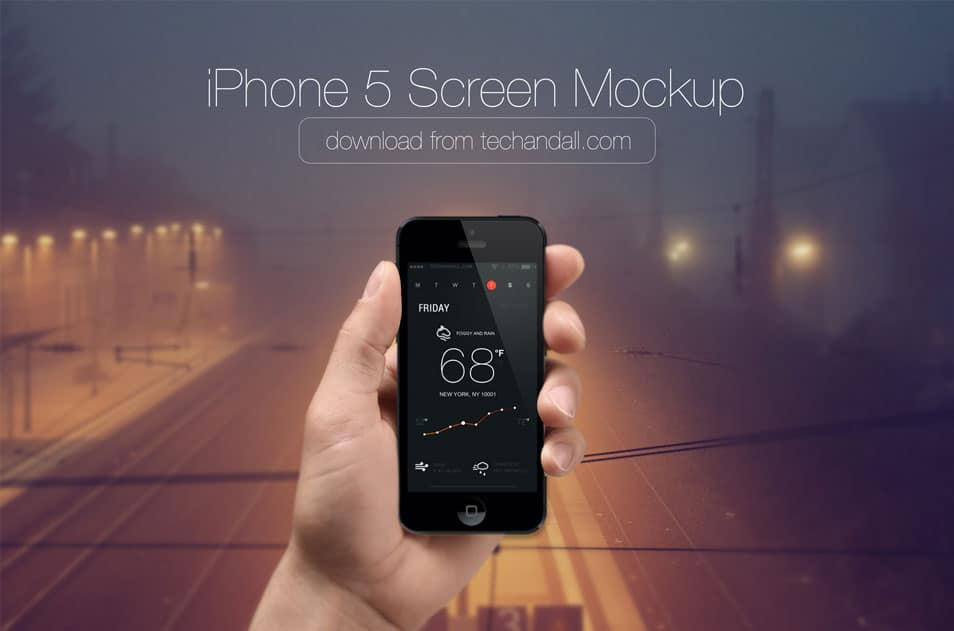 Photo Realistic iPhone 5 Screen Mock up