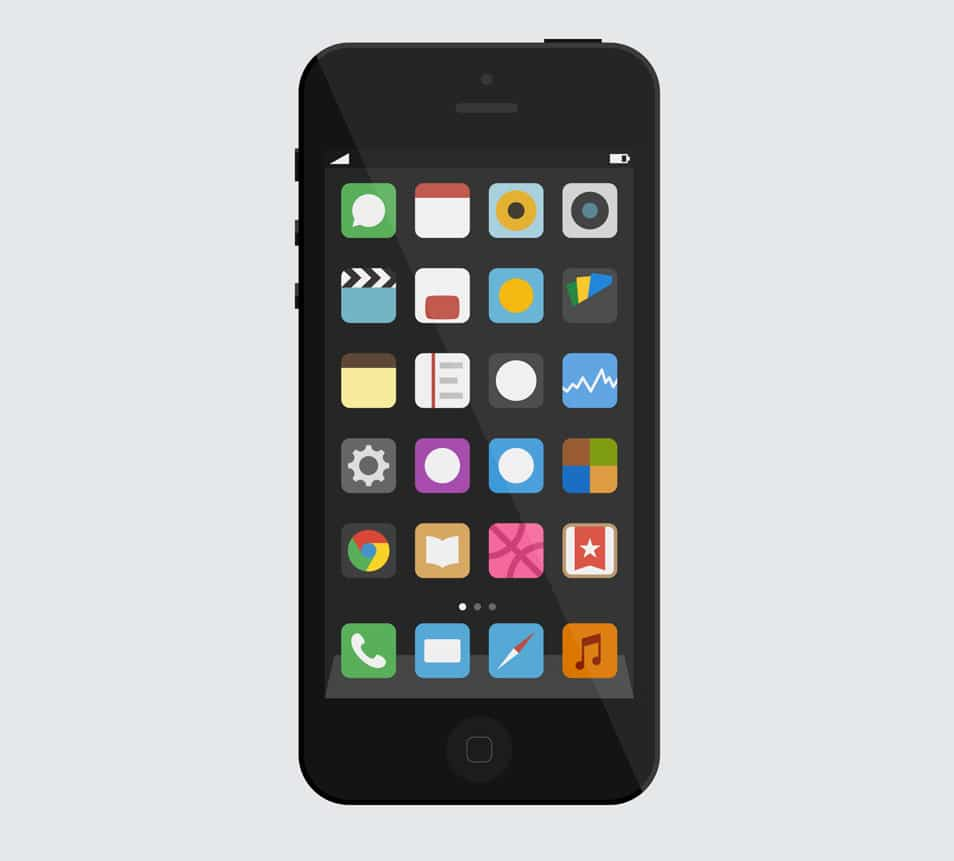 Simple (flat iOS) iPhone 5 vector mockup