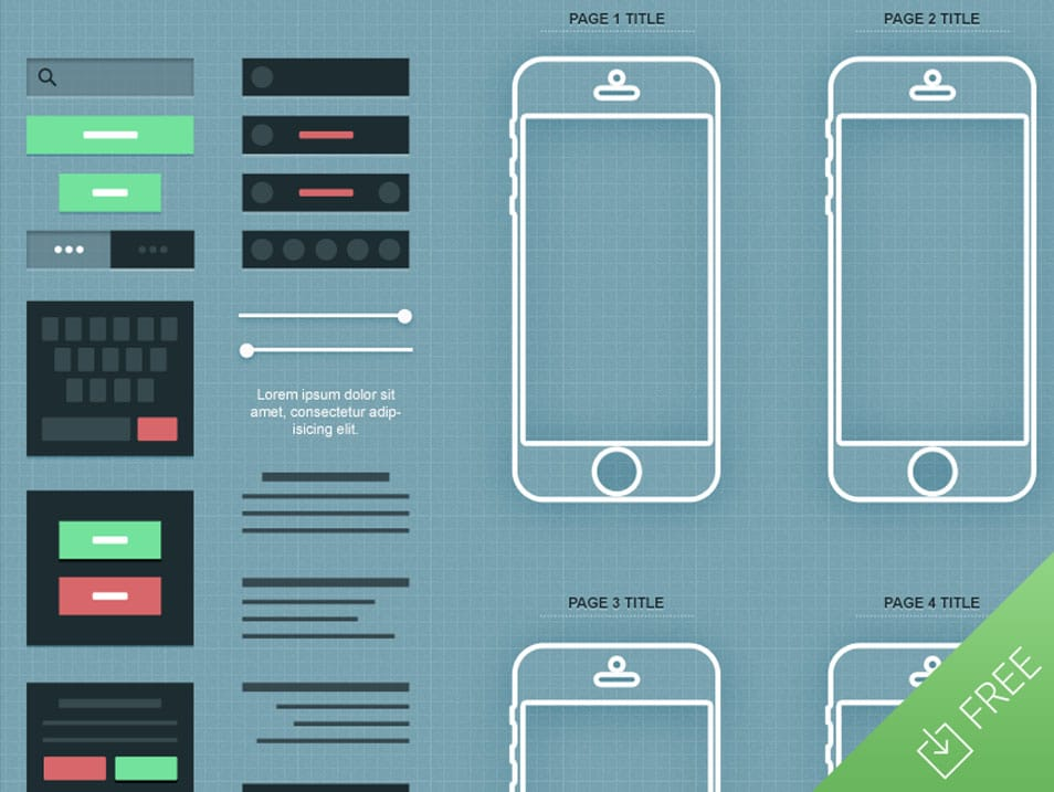 iPhone App Wireframe Mockup PSD
