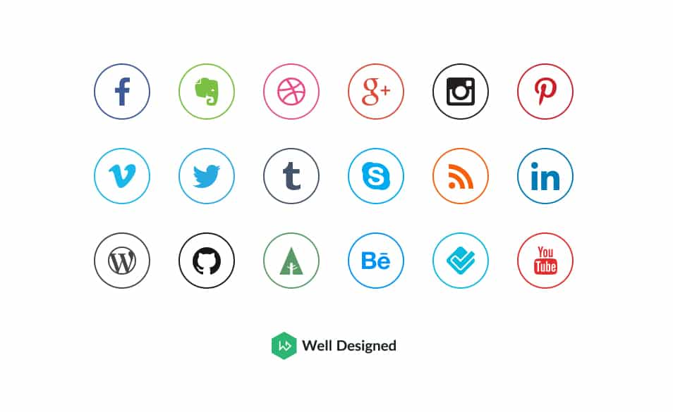 20 Social Media Outline Icons