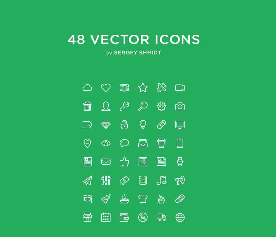 48 Free Vector Line Icon Set